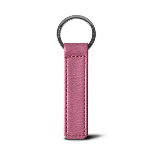 Flat rectangular key ring - Pink - Goat Leather