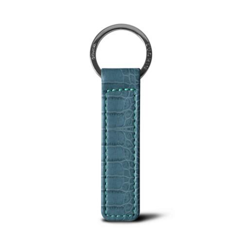 Schlüsselbund - Türkisblau - Leder in Krokodil- Optik