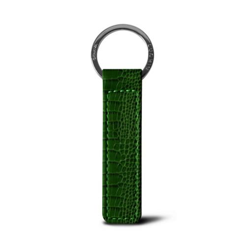 Flat rectangular key ring - Light Green - Crocodile style calfskin