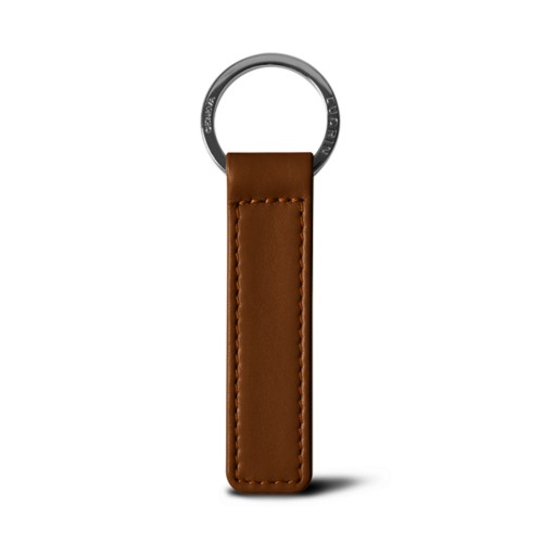 Flat rectangular key ring - Tan - Smooth Leather