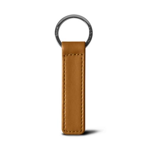 Flat rectangular key ring - Natural - Smooth Leather