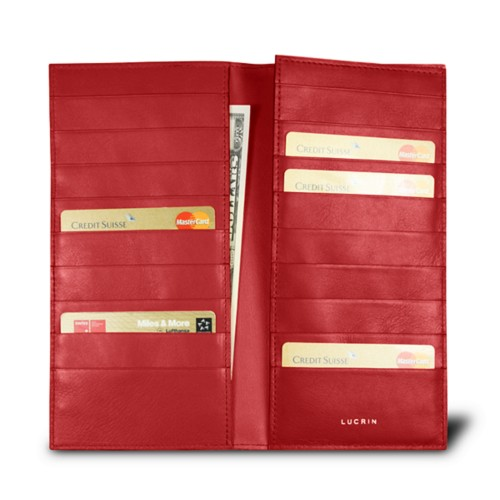 18-Compartment card case - Red - Crocodile style calfskin