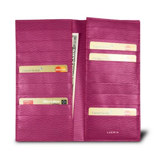 Etui für 18 Kreditkarten - Fuchsia  - Genarbtes Leder
