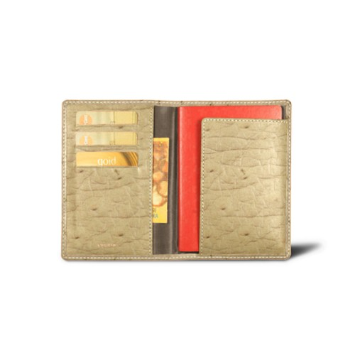 Passport and loyalty cards holder - Beige - Real Ostrich Leather