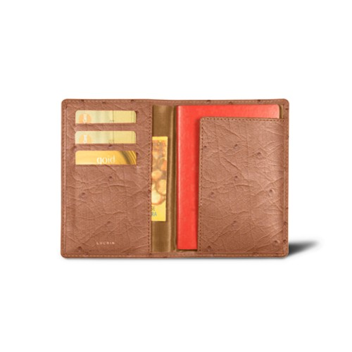 Passport and Loyalty Card Holder - Tan - Real Ostrich Leather