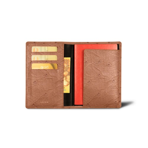 Passport and loyalty cards holder - Tan - Real Ostrich Leather
