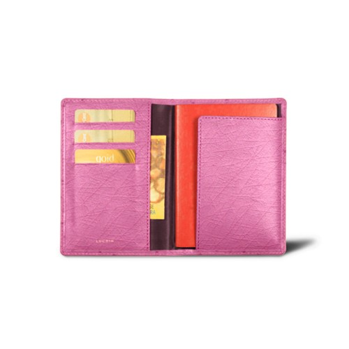 Passport and Loyalty Card Holder - Fuchsia  - Real Ostrich Leather