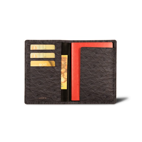 Passport and loyalty cards holder - Dark Brown - Real Ostrich Leather