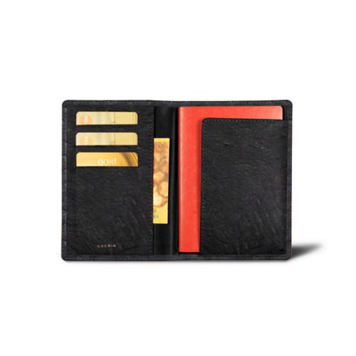 Passport and loyalty cards holder - Black - Real Ostrich Leather