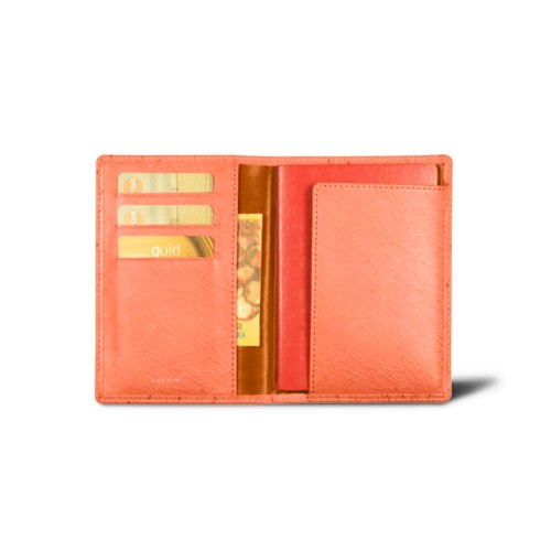 Passport and loyalty cards holder - Orange - Real Ostrich Leather