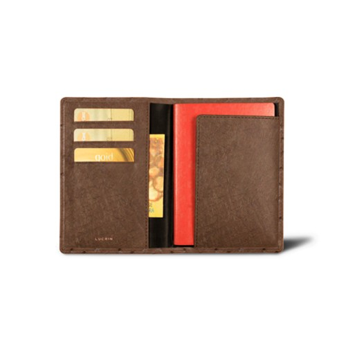 Passport and Loyalty Card Holder - Tobacco - Real Ostrich Leather