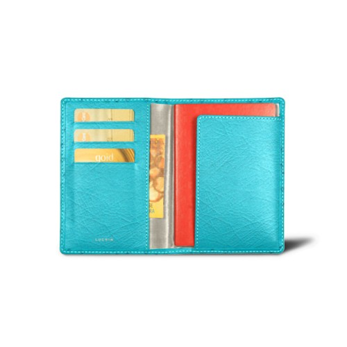 Passport and loyalty cards holder - Turquoise - Real Ostrich Leather