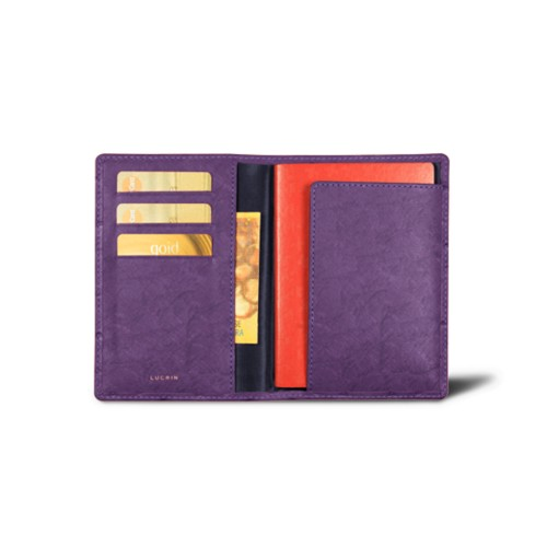 Passport and loyalty cards holder - Purple - Real Ostrich Leather