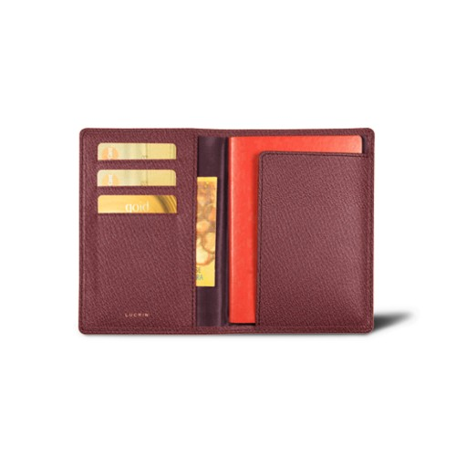 Passport and loyalty cards holder - Burgundy - Goat Leather