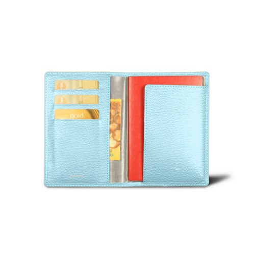 Passport and Loyalty Card Holder - Sky Blue - Goat Leather