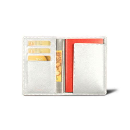 Passport and loyalty cards holder - White - Goat Leather