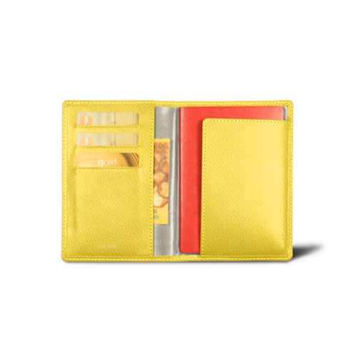 Australian Passport and loyalty cards holder - Lemon Yellow - Goat Leather
