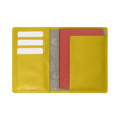 Reisepass und Treue Kartenhalter - Zitronengelb - Ziegenleder