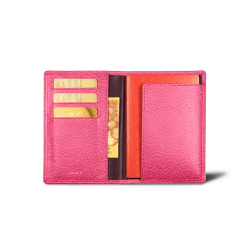 Passport and loyalty cards holder - Fuchsia  - Goat Leather
