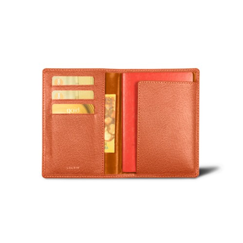 Passport and loyalty cards holder - Orange - Goat Leather