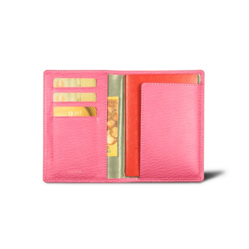 Passport and loyalty cards holder - Pink - Goat Leather