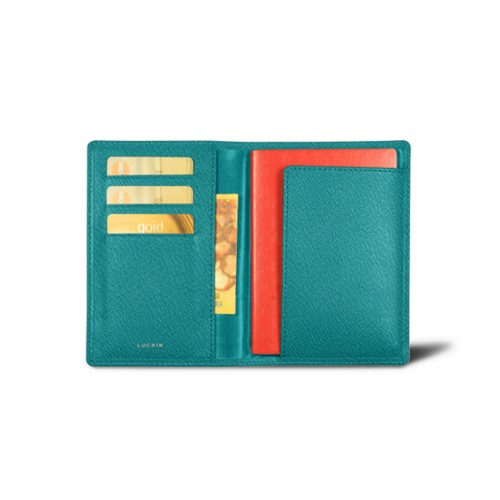 Australian Passport and loyalty cards holder - Sea Green - Goat Leather