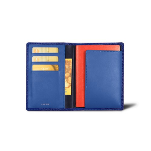 Passport and loyalty cards holder - Royal Blue - Crocodile style calfskin