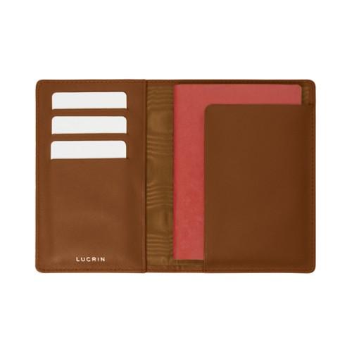 Passport and loyalty cards holder - Camel - Crocodile style calfskin