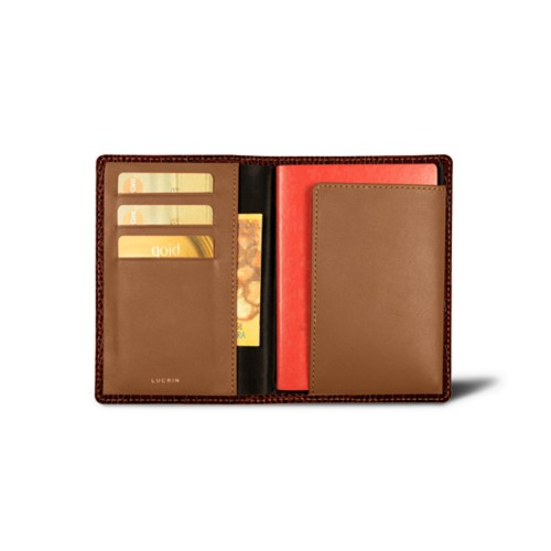 Passport and loyalty cards holder - Tan - Crocodile style calfskin