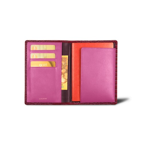 Passport and loyalty cards holder - Fuchsia  - Crocodile style calfskin