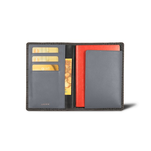 Passport and loyalty cards holder - Mouse-Grey - Crocodile style calfskin