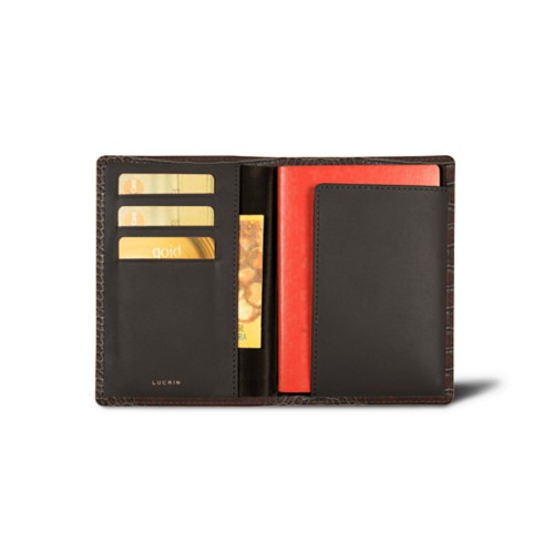 Passport and loyalty cards holder - Dark Brown - Crocodile style calfskin