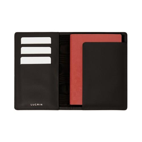 Passport and loyalty cards holder - Dark Brown - Crocodile style calfskin