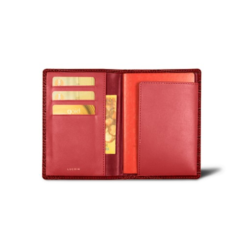 Passport and loyalty cards holder - Red - Crocodile style calfskin