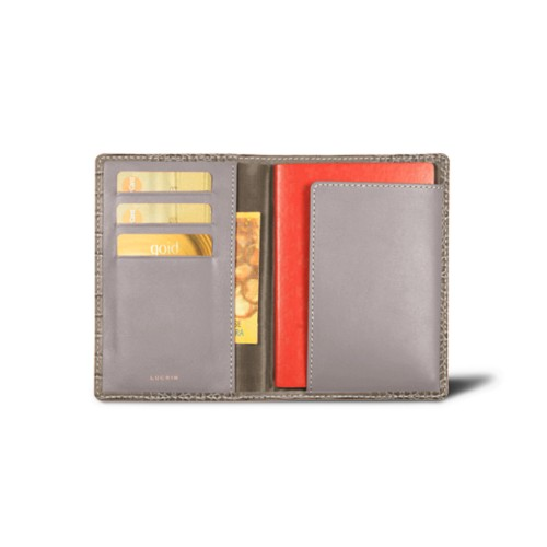 Passport and loyalty cards holder - Light Taupe - Crocodile style calfskin
