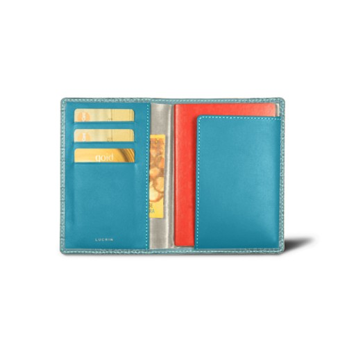 Passport and loyalty cards holder - Turquoise - Crocodile style calfskin