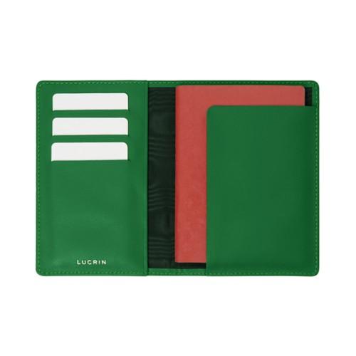 Passport and loyalty cards holder - Light Green - Crocodile style calfskin