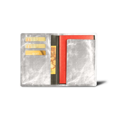 Passport and loyalty cards holder - Silver - Metallic Leather