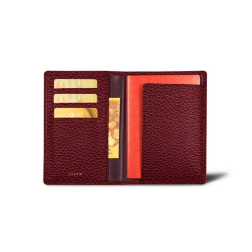 Passport and loyalty cards holder - Burgundy - Granulated Leather