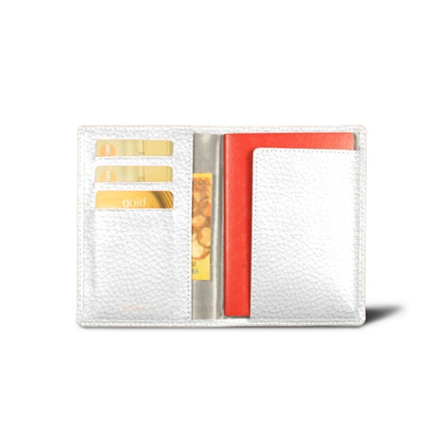 Passport and loyalty cards holder - White - Granulated Leather