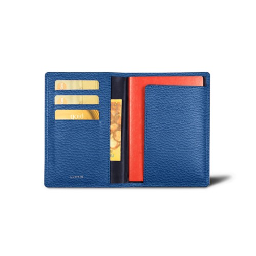 Passport and loyalty cards holder - Royal Blue - Granulated Leather