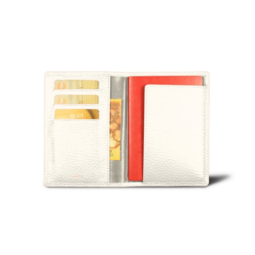Passport and loyalty cards holder - Off-White - Granulated Leather