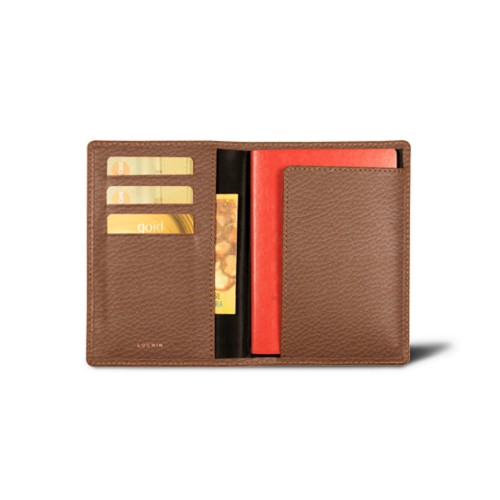 Passport and loyalty cards holder - Tan - Granulated Leather