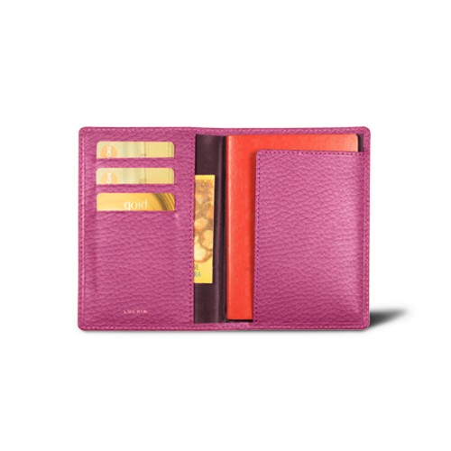 Passport and loyalty cards holder - Fuchsia  - Granulated Leather
