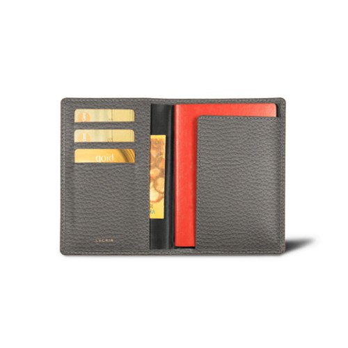 Passport and loyalty cards holder - Mouse-Grey - Granulated Leather