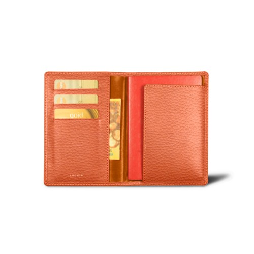 Passport and loyalty cards holder - Orange - Granulated Leather