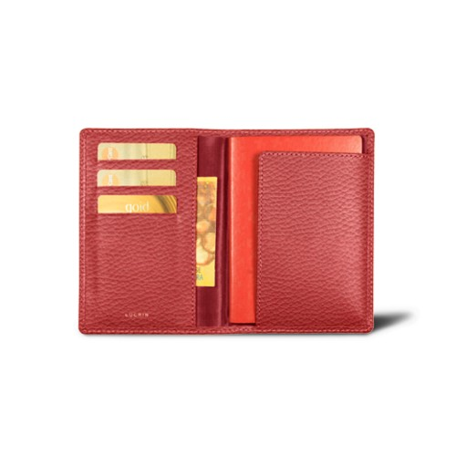 Passport and loyalty cards holder - Red - Granulated Leather