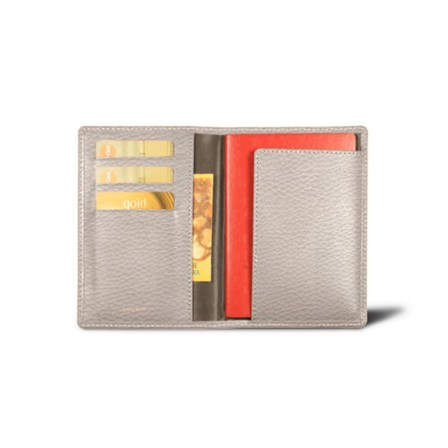 Passport and loyalty cards holder - Light Taupe - Granulated Leather