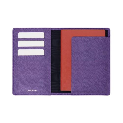 Reisepass und Treue Kartenhalter - Lavendel - Genarbtes Leder