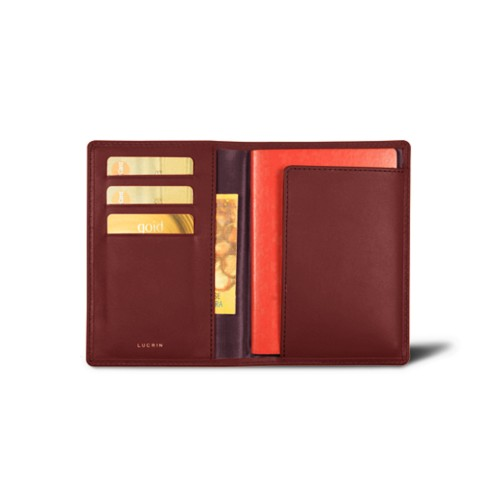 Passport and loyalty cards holder - Burgundy - Smooth Leather